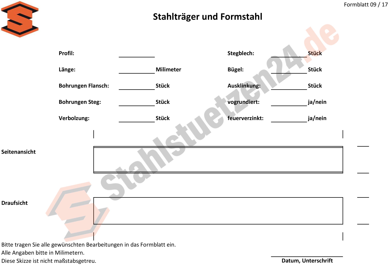 Konstruktionshilfe - Stahlträger und Formstahl