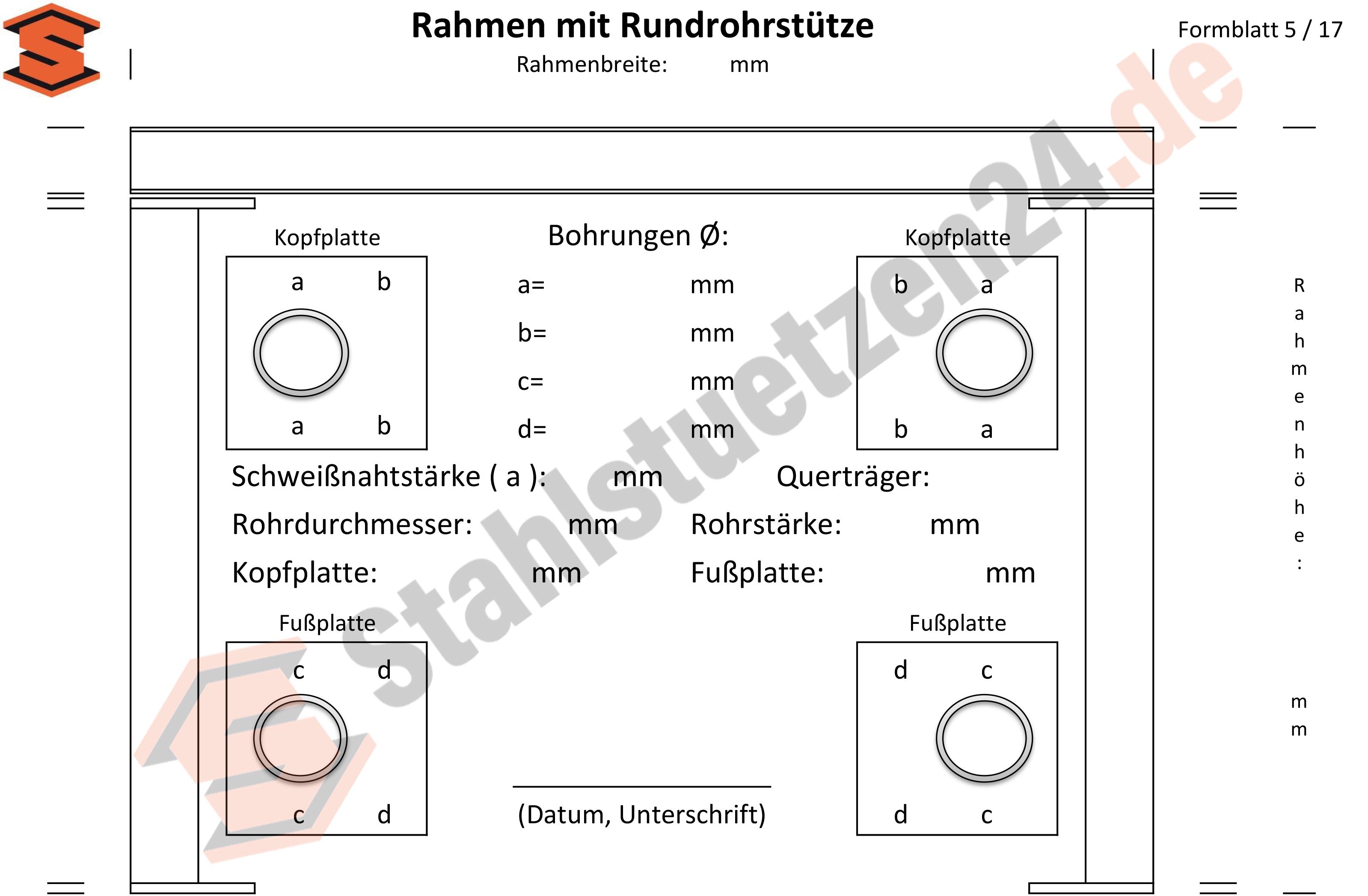 Konstruktionshilfe - Rahmen mit Rundrohrstütze