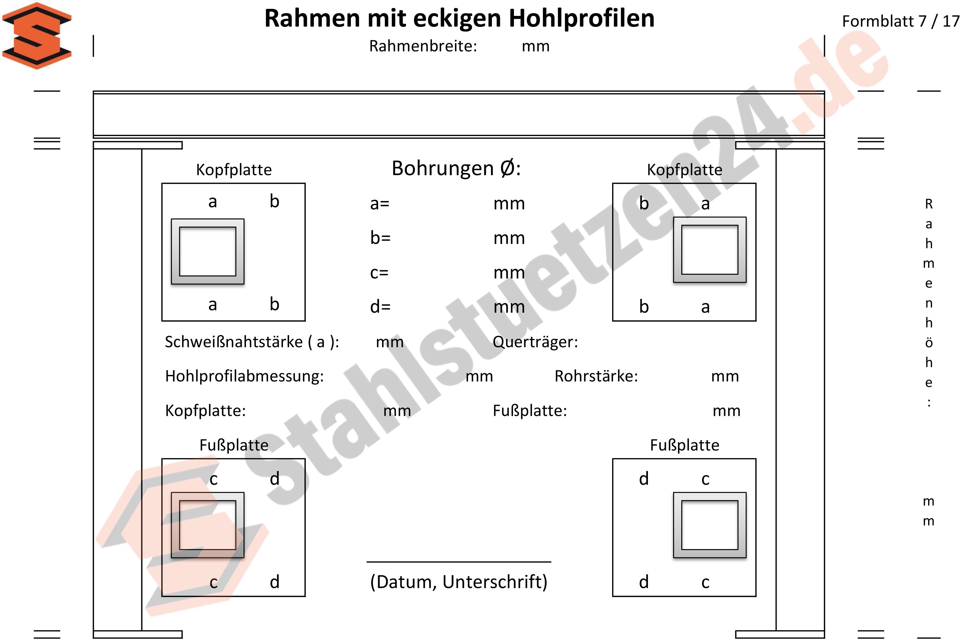 Konstruktionshilfe - Rahmen mit eckigem Hohlprofilen