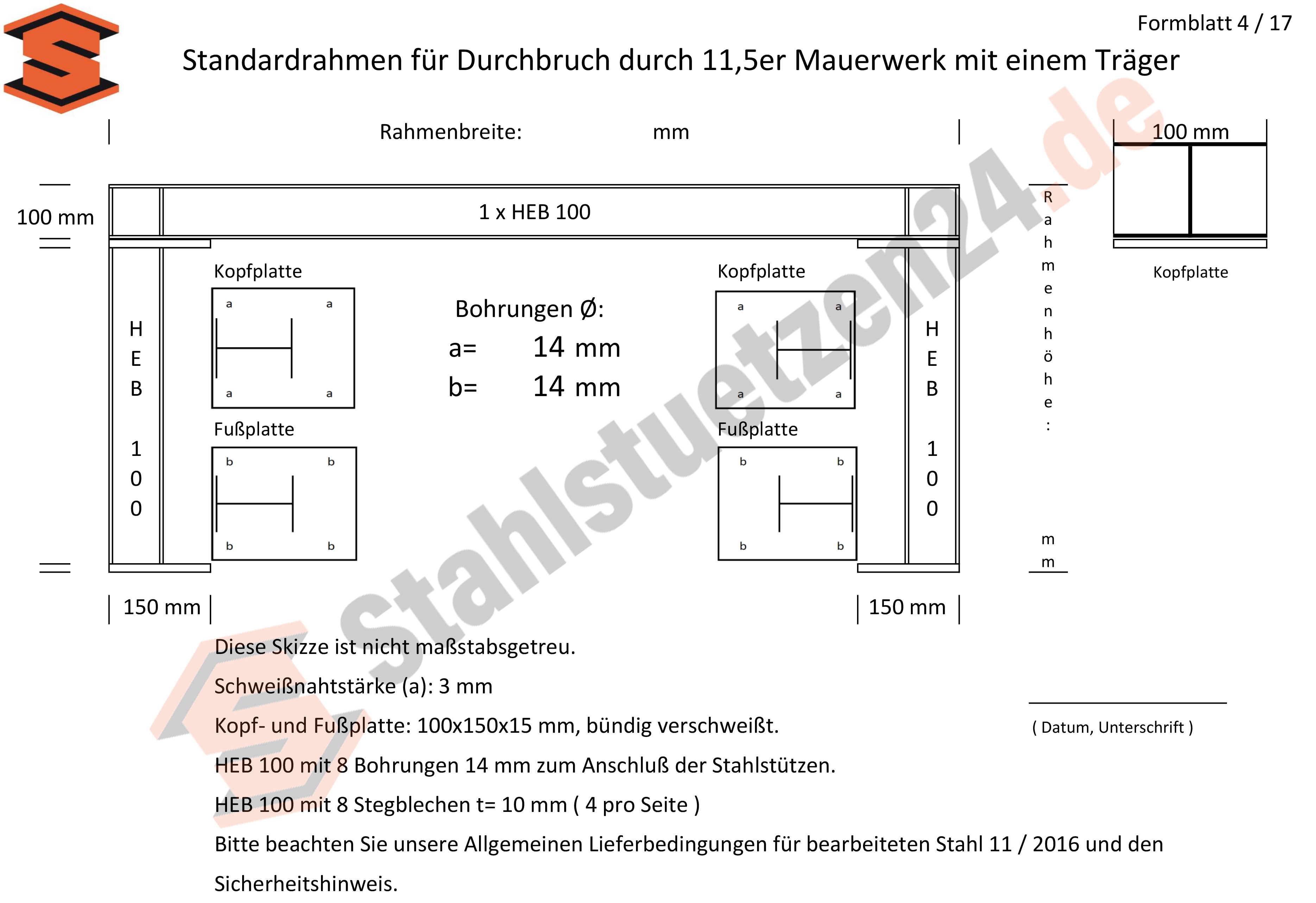 Konstruktionshilfe - Standardrahmen für Durchbruch durch 11,5er Mauerwerk mit einem Träger