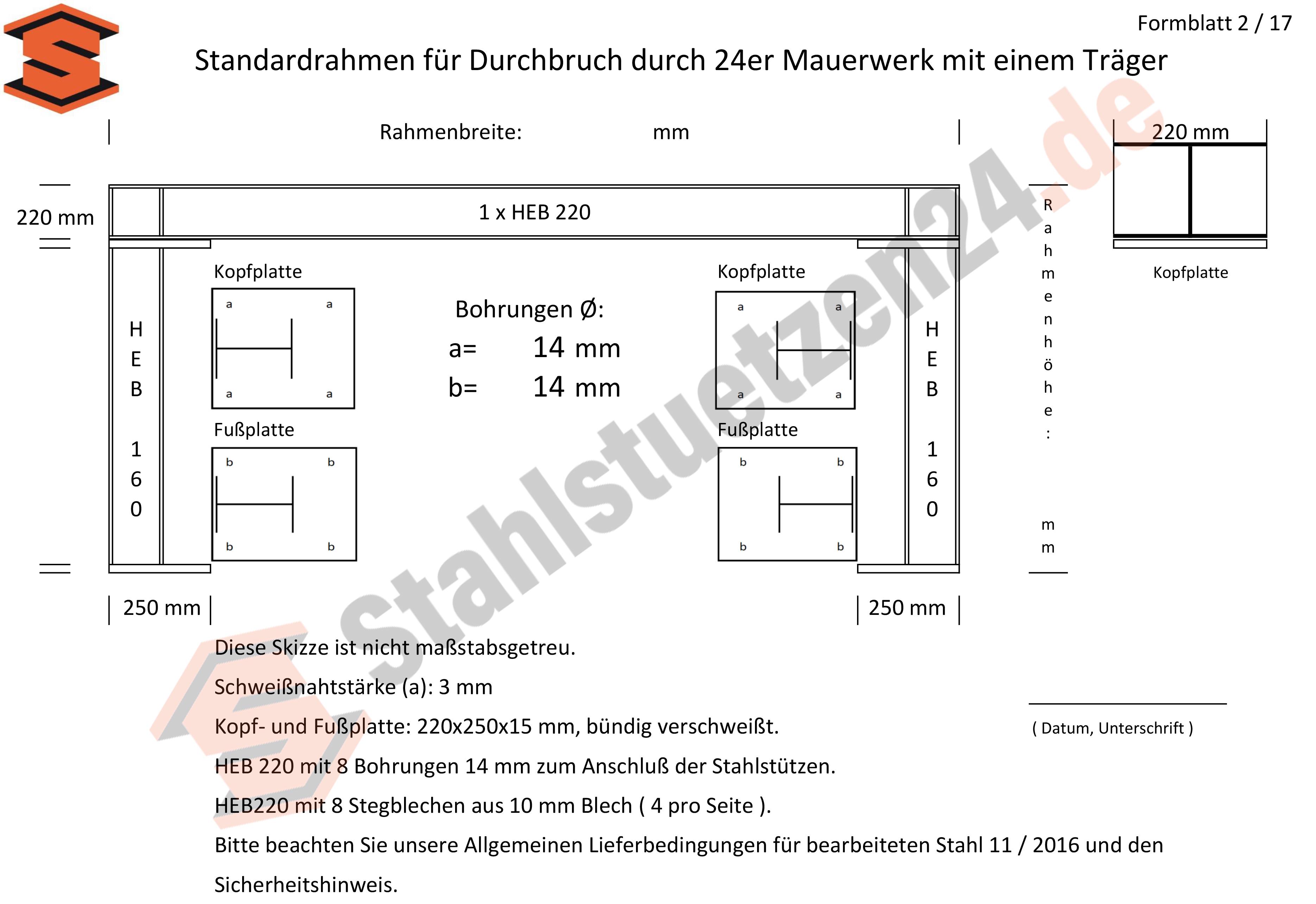 Konstruktionshilfe - Standardrahmen für Durchbruch durch 24er Mauerwerk mit einem Träger