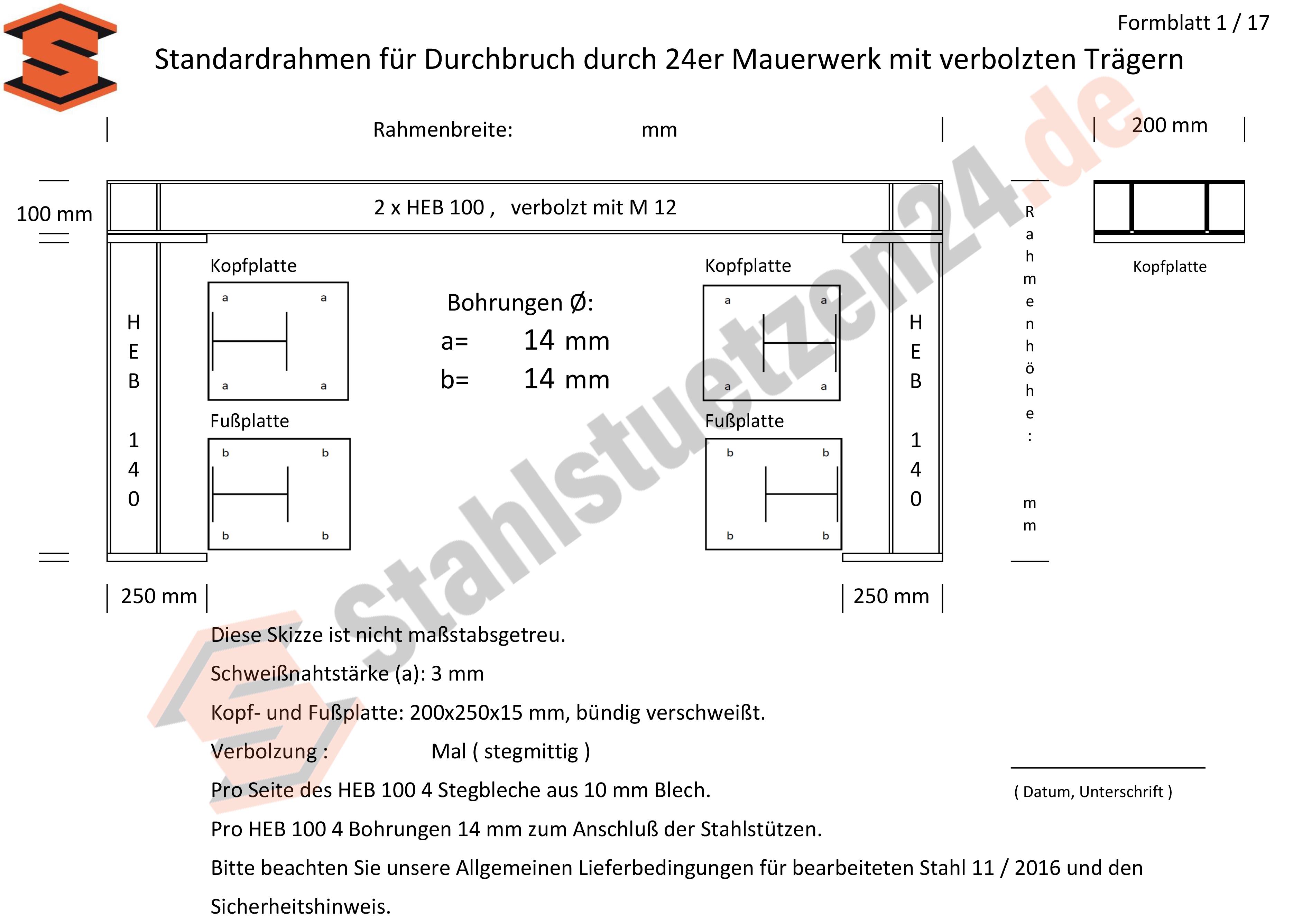 Konstruktionshilfe - Standardrahmen für Durchbruch durch 24er Mauerwerk mit verbolzten Trägern