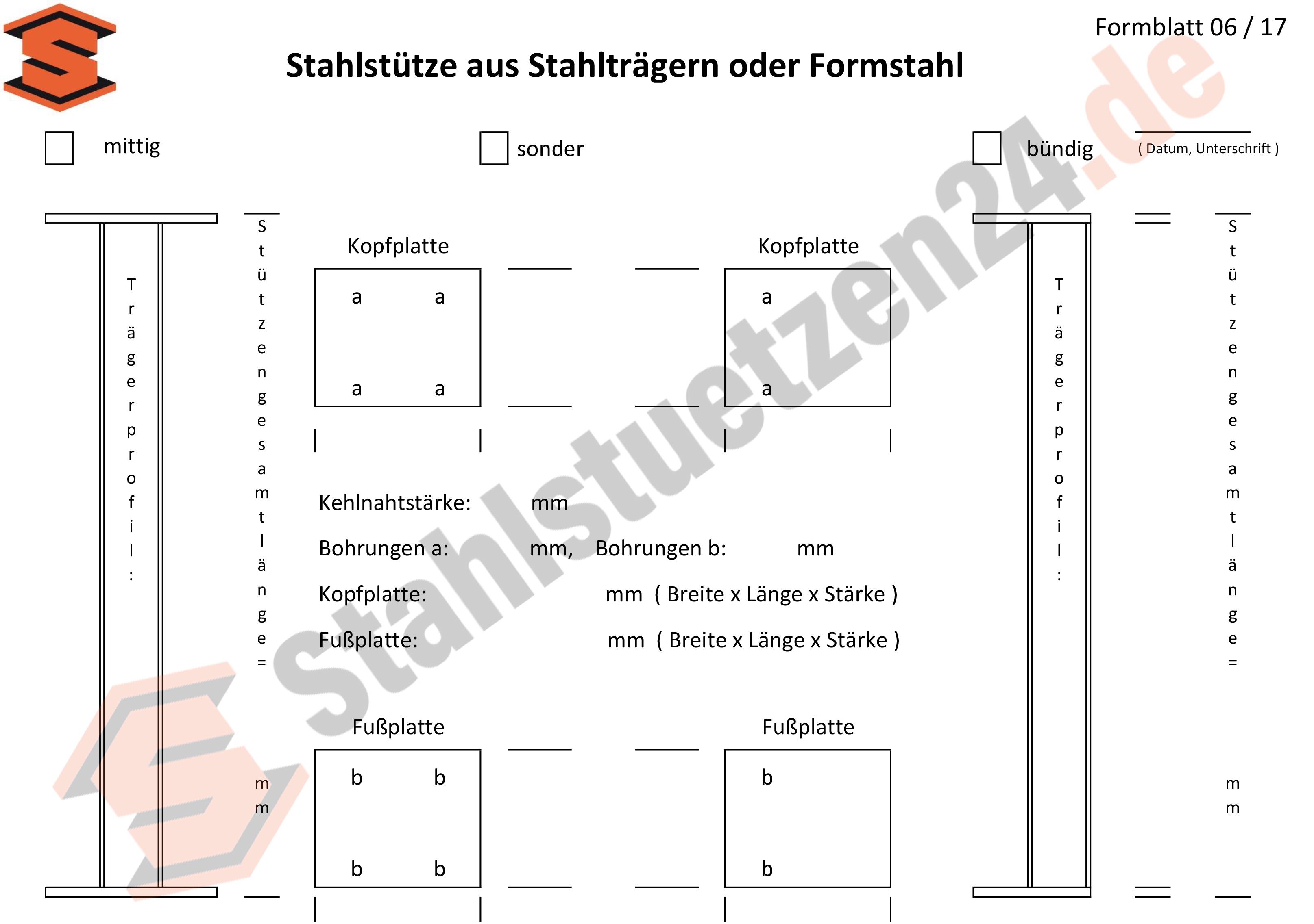 Konstruktionshilfe - Stahlstütze aus Stahlträgern oder Formstahl